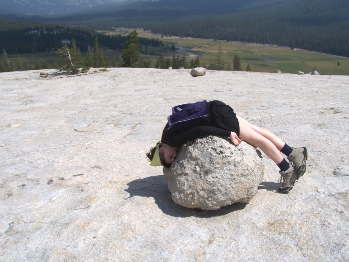 My teenage daughter-- being herself-- on top of Pothole Dome, Tuolumne Meadows, Yosemite National Park 2013.
